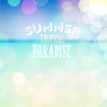 Summer tropical paradise. Poster on beach bokeh background. Vector eps10.