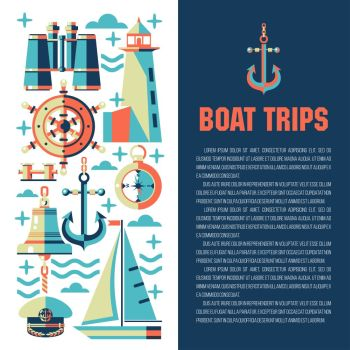 Vector illustration with place for text. Sea Yacht club. Paintings on the theme of sea travel. Binoculars, ship s wheel, lighthouse, compass, anchor.
