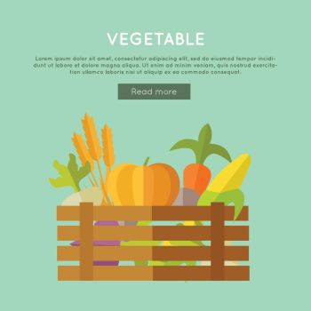 Vegetables vector banner. Flat design. Illustration of wooden box full of fresh farm plants on color background for web design. Farming concept with wheat, pumpkin, corn, beets, carrot . Vegetable Vector Web Banner in Flat Design.