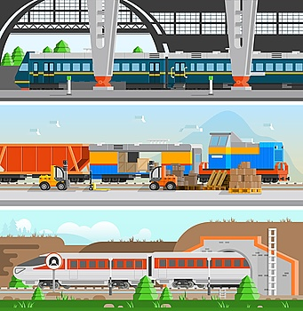 Rail Transport Horizontal Flat Banners. Rail transport horizontal flat banners with high speed passenger train railroad station and loading at railway transport compositions vector illustration