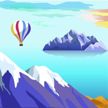 Beautiful vector landscape with iceberg floating in sea, flying balloon under water and snow-covered mountain peaks on coast. Travel and exploding northern lands concept. Antarctic nature illustration. Beautiful Vector Landscape With Iceberg in Sea