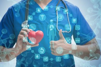 Young doctor cardiologist in telehealth concept. The young doctor cardiologist in telehealth concept