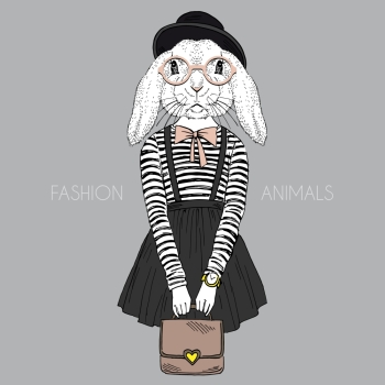 anthropomorphic design. fashion illustration of bunny girl hipster