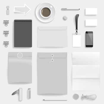 Corporate identity template on light gray background. Use layer