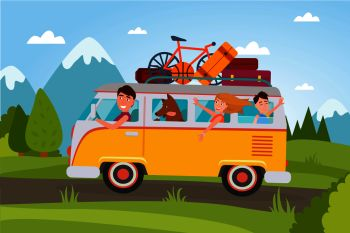 Family that goes on vacation at countryside in van full of baggage and with small basketball, compact bicycle and dog vector illustration.. Family That Goes on Vacation at Countryside in Van