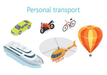 Personal Transport Infographic Statistics of Usage. Personal transport infographic. Boat. Car. Motorcycle. Bicycle. Helicopter. Balloon. Statistics of transport usage. Shown amount of people use each type of transportation. Transport system vector