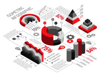 Isometric diagrams infographics black and white with solid geometric objects for graphs and diagrams with text vector illustration. Isometric Geometric Solid Infographics