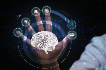 Healthcare, medical and future technology concept - female doctor with virtual interface