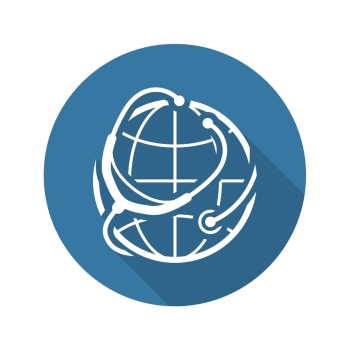 Global Health Care Icon. Flat Design. Isolated Illustration. Long Shadow.. Global Health Care Icon. Flat Design.