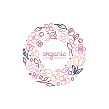 Vector logo design template and monogram concept in trendy linear style - floral frame with copy space for text - cosmetics and beauty emblem