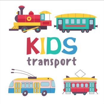 Children's transport collection. Vector illustration. Isolated on white background. A large set of railway transport.