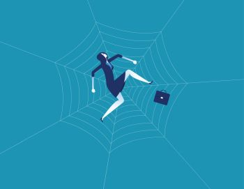 Businesswoman and spider web. Concept business character vector illustration. Flat design style.