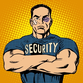 Brutal security guard after a fight pop art retro style. Bruise wound plaster injury. Powerful muscular bodybuilder. Sport and protection. Brutal security guard after a fight