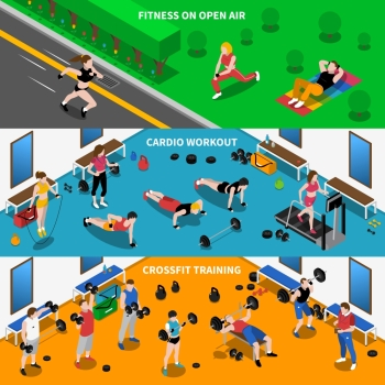 Gym Banners Set. Gym and fitness horizontal isometric banners set with workout symbols isolated vector illustration