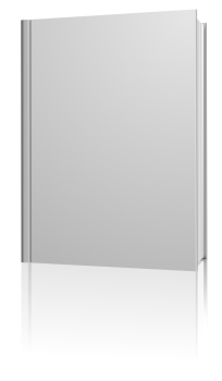Standing blank hardcover book isolated on white background.