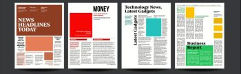 Newspaper Vector. With Text And Images. Daily Opening News Text Articles. Press Layout. Illustration. Newspaper Vector. With Text Article Column Design. Technology And Business News Article. Press Layout. Illustration