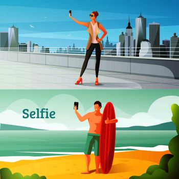 Selfie photo modern people lifestyle compositions set with woman in urban scenery and man on seashore vector illustration . Selfie Horizontal Illustrations Set