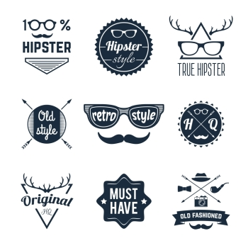 Hipster old retro style original fashioned label set isolated vector illustration
