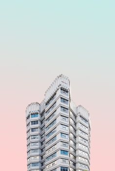 minimal architecture photography with gradient sky