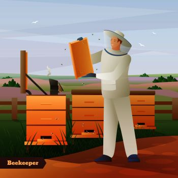 Beekeeper in special outfit with honeycombs in hands near hives on nature background flat composition vector illustration. Beekeeper Flat Composition