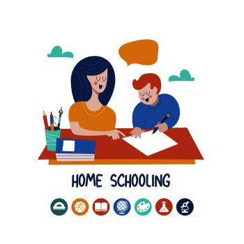 Home schooling. Mom helps the child learn. Education in comfortable conditions. Set of vector icons. Vector illustration in flat style.. Home schooling. The concept of getting a good education at home. Vector illustration in flat style.
