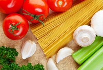 Some of the ingredients needed for cooking Italian food.
