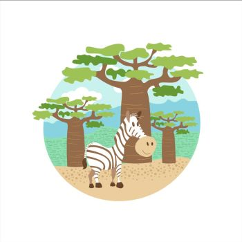 Africa. Animals and nature of Africa. Cute Zebra standing in the background of baobabs. Vector illustration. Isolated on a white background.