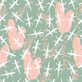 Seamless pattern with cute green rain forest animal gecko lizard, vector illustration
