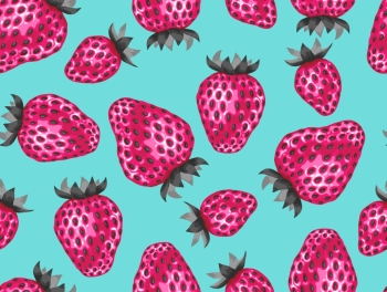 Abstract seamless pattern with strawberries in a pop art style. Abstract seamless pattern with strawberries in a pop art style.