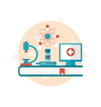 Illustration set flat icons of objects medicine laboratory, concept of healthcare system - vector