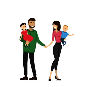 Happy family - father, mother,daughter,son. isolated on white background,cartoon vector illustration. Happy family - father, mother,daughter,son