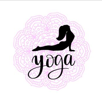 silhouette of woman making yoga exercise on colored mandala background. Black silhouette of woman making yoga exercise on soft pink colored mandala background and lettering word yoga. Vector illustration for t-shirt print, yoga mat, towel, poster, business card.