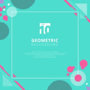 Abstract pink circle geometric pattern design on blue color background with copy space. Use for modern design, cover, poster, template, decorated, brochure, flyer. Vector illustration