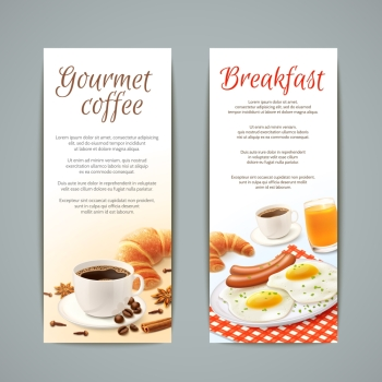 Breakfast food vertical banners set with coffee cup croissant fried eggs and orange juice isolated vector illustration