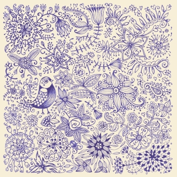 Hand drawn flowers and birds. Card drawn by pen on paper. Vector illustration.