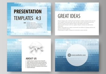 Presentation slide templates. Easy editable abstract vector layouts in flat design. Colorful background, triangular texture, travel business, natural landscape, polygonal style.. Set of business templates for presentation slides. Easy editable abstract vector layouts in flat design. Colorful background made of triangular texture for travel business, natural landscape in polygonal style.