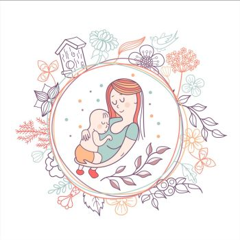 Greeting card mother's day. A pretty mother holds cute baby. Linear illustration. Vector emblem. The floral pattern.
