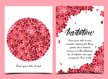 Vector illustration of a circle-shaped flower. Floral background. Set of greeting cards. Summer floral decorations