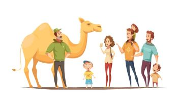 Desert Ship Riding Composition. Wild animals composition with dromedary camel riding instructor and group of curious kids and adult  characters vector illustration