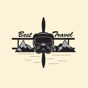 Best Travel Logo. Logo indicating extreme rest and travel. Bulldog in the form of an extreme pilot, in a mountainous area. Vector illustration in gray tones.