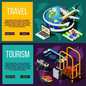 Travel and tourism horizontal banners booking tickets air travel hotel services active tourism adventure around world  isometric vector illustration   . Travel And Tourism Horizontal Banners