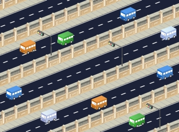 Isometric vector road with transport