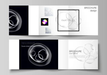 Vector layout of two square format covers design templates for trifold square brochure, flyer, magazine. SPA and healthcare design, sci-fi technology background. Futuristic, medical consept background.. Vector layout of two square format covers design templates for trifold square brochure, flyer, magazine. SPA and healthcare design, sci-fi technology background. Futuristic, medical consept background