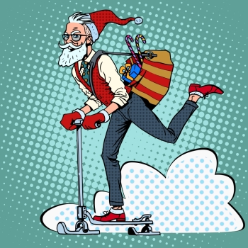 Hipster Santa Claus spreads the Christmas gifts on a scooter sled pop art retro style. Hipster Santa Claus spreads the Christmas gifts on a scooter sle