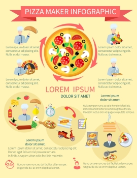 Fast food pizza maker perfect service pizzeria fresh ingredients infographics set vector illustration