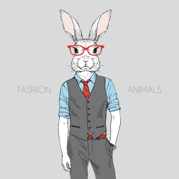 Anthropomorphic design. Hand drawn illustration of rabbit dressed up in office style