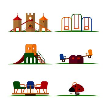 Kids playground elements vector. Carousel and children slide, swing and castle. Kids playground elements