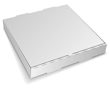 Blank closed cardboard pizza box isolated on white background.