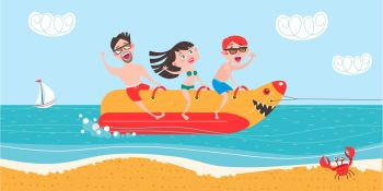 Happy people on holiday and ride on the banana boat. Vacation at sea! The beach activities. Vector illustration.