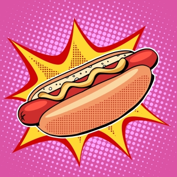 Hot dog fast food vector pop art retro style. Restaurants and street food. Sausage in the bun with mustard. Healthy and unhealthy food. Menu comic style. Hot dog fast food vector pop art style